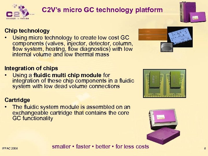 C 2 V's micro GC technology platform Chip technology • Using micro technology to