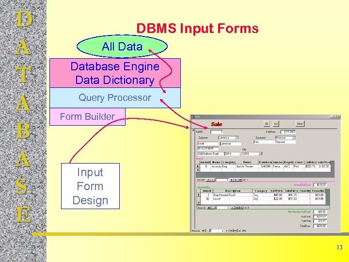 D A T A B A S E DBMS Input Forms All Database Engine