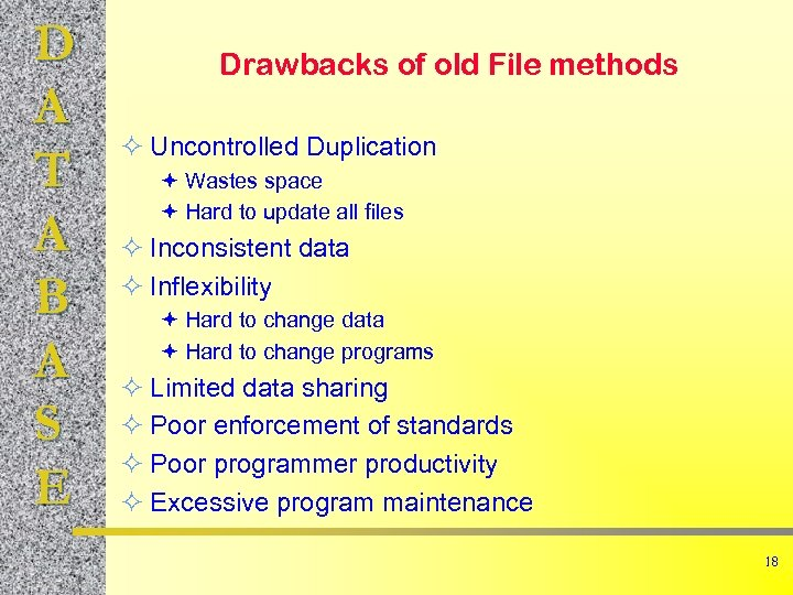 D A T A B A S E Drawbacks of old File methods ²