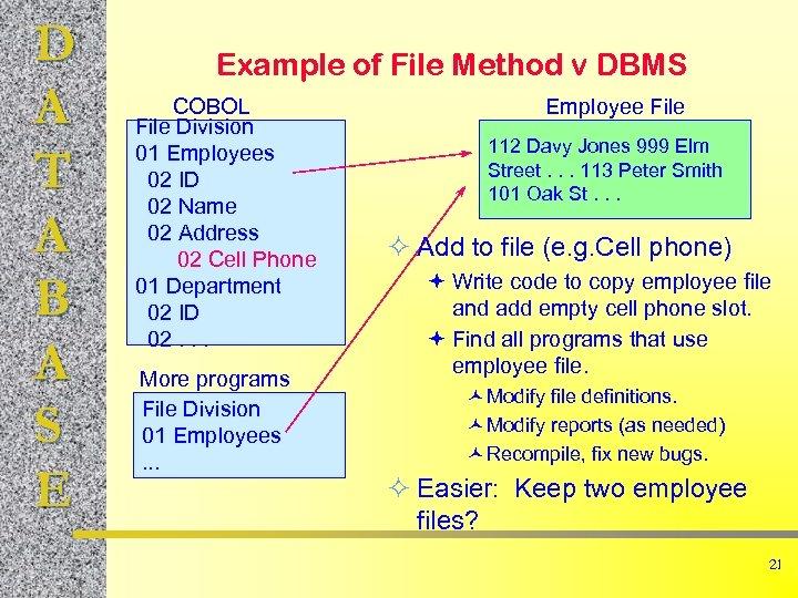 D A T A B A S E Example of File Method v DBMS