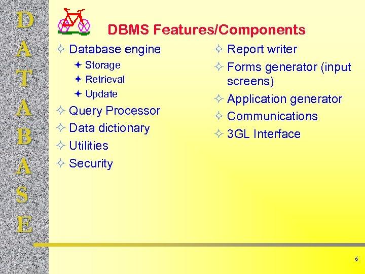 D A T A B A S E DBMS Features/Components ² Database engine ª