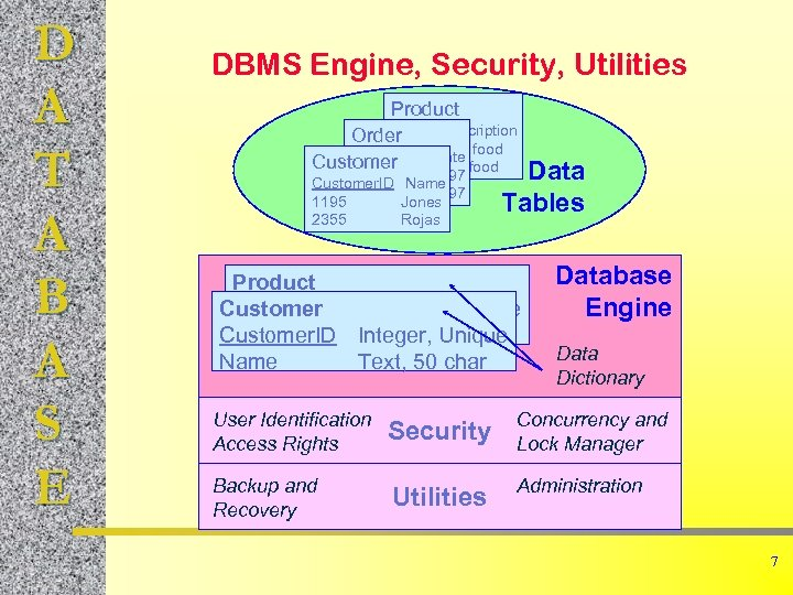 D A T A B A S E DBMS Engine, Security, Utilities Product Item.