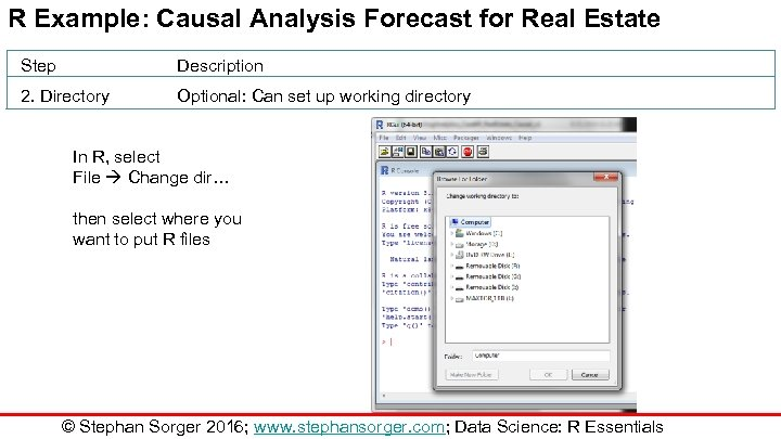 R Example: Causal Analysis Forecast for Real Estate Step Description 2. Directory Optional: Can