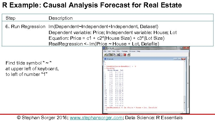 R Example: Causal Analysis Forecast for Real Estate Step Description 6. Run Regression lm(Dependent~Independent+Independent,