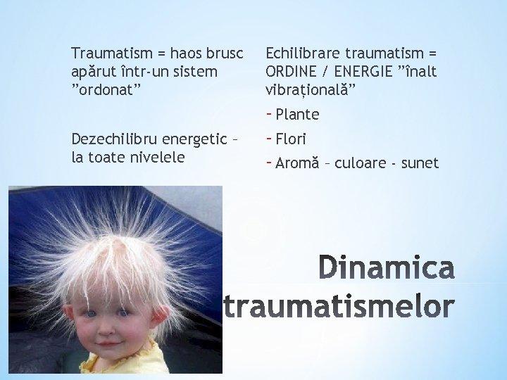 "Traumatism = haos brusc apărut într-un sistem ""ordonat"" Echilibrare traumatism = ORDINE / ENERGIE"