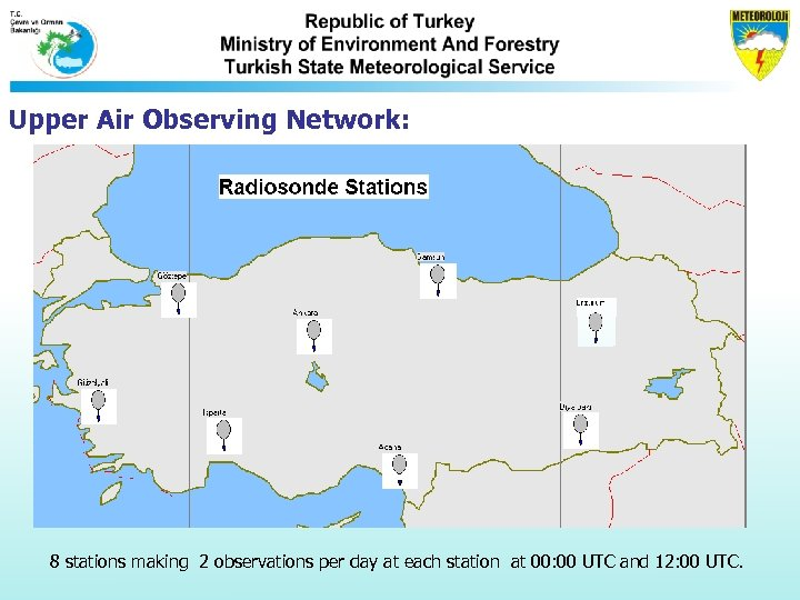 Upper Air Observing Network: 8 stations making 2 observations per day at each station