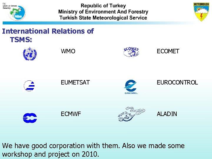 International Relations of TSMS: WMO ECOMET EUMETSAT EUROCONTROL ECMWF ALADIN We have good corporation