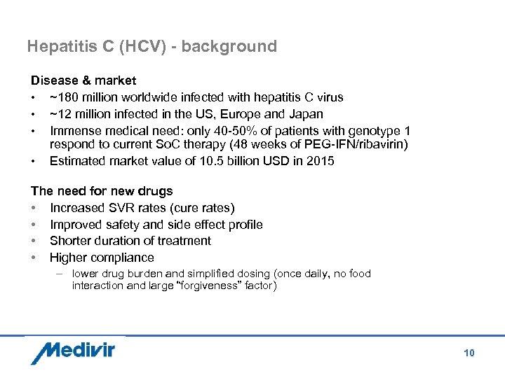 Hepatitis C (HCV) - background Disease & market • ~180 million worldwide infected with