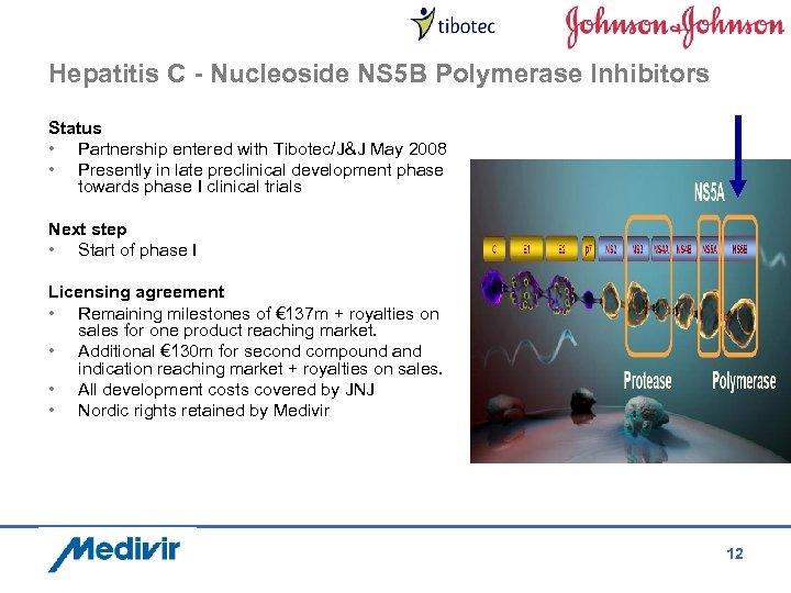 Hepatitis C - Nucleoside NS 5 B Polymerase Inhibitors Status • Partnership entered with