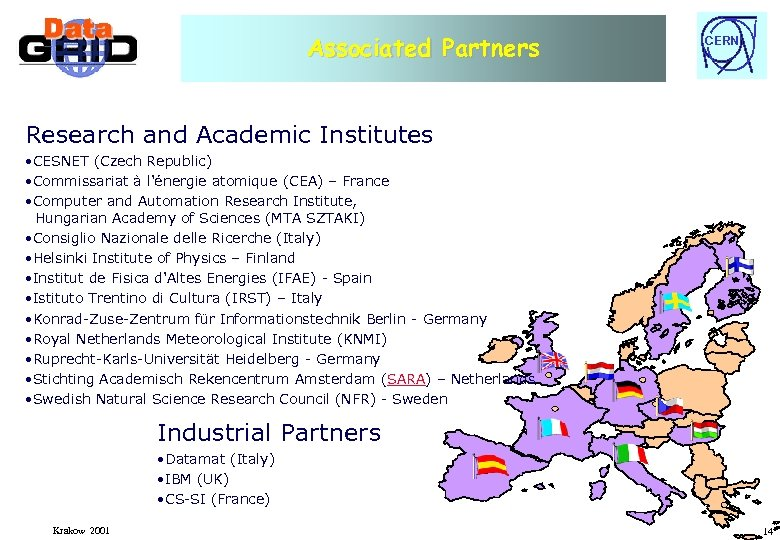 Associated Partners CERN Research and Academic Institutes • CESNET (Czech Republic) • Commissariat à