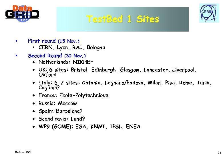Test. Bed 1 Sites § First round (15 Nov. ) § CERN, Lyon, RAL,