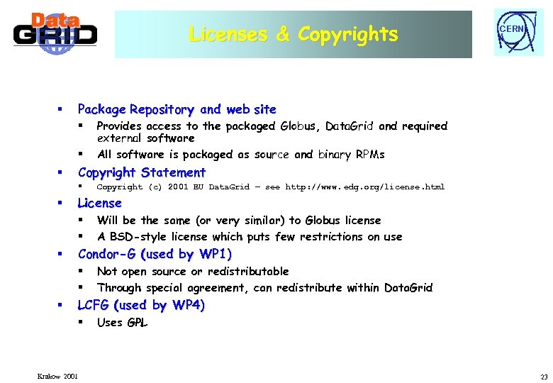 Licenses & Copyrights § Package Repository and web site § § § Will be