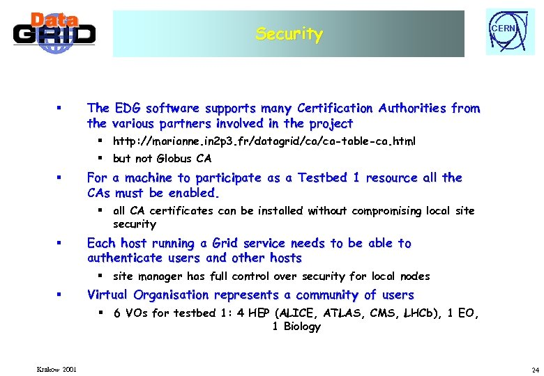 Security § CERN The EDG software supports many Certification Authorities from the various partners