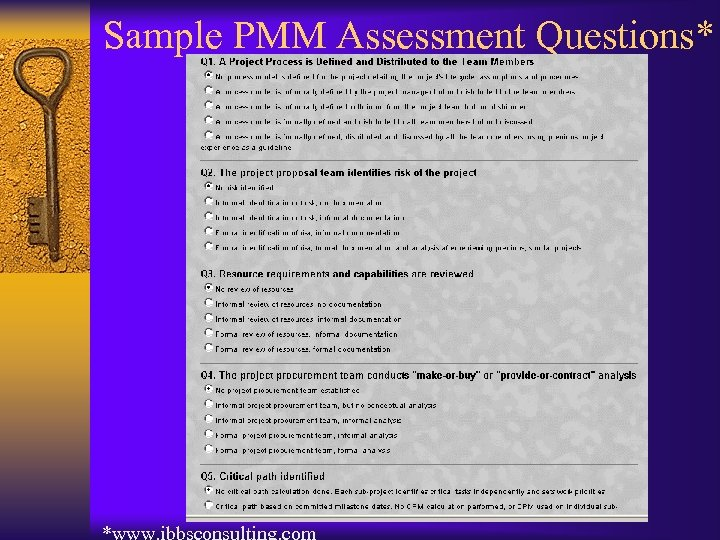 Sample PMM Assessment Questions*