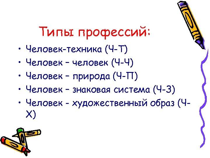 Типы профессий: • • • Человек-техника (Ч-Т) Человек – человек (Ч-Ч) Человек – природа