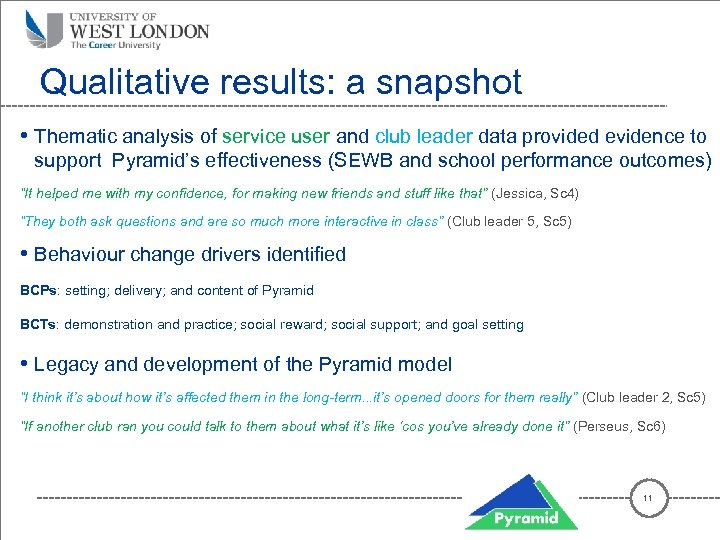 Qualitative results: a snapshot • Thematic analysis of service user and club leader data