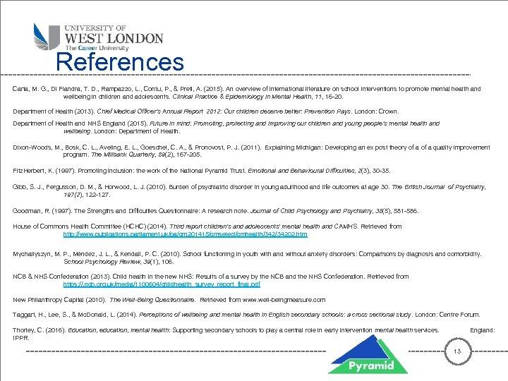 References Carta, M. G. , Di Fiandra, T. D. , Rampazzo, L. , Contu,