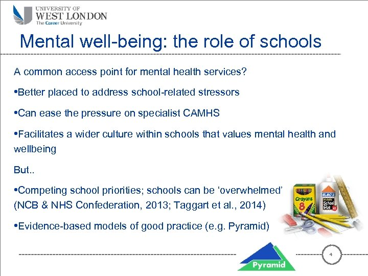 Mental well-being: the role of schools A common access point for mental health