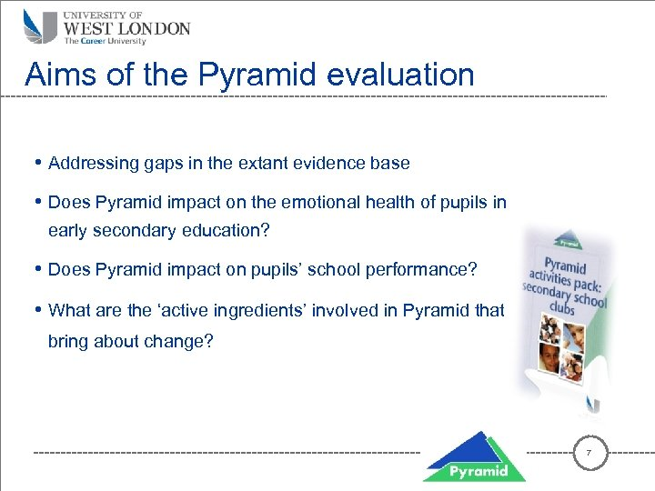 Aims of the Pyramid evaluation • Addressing gaps in the extant evidence base •