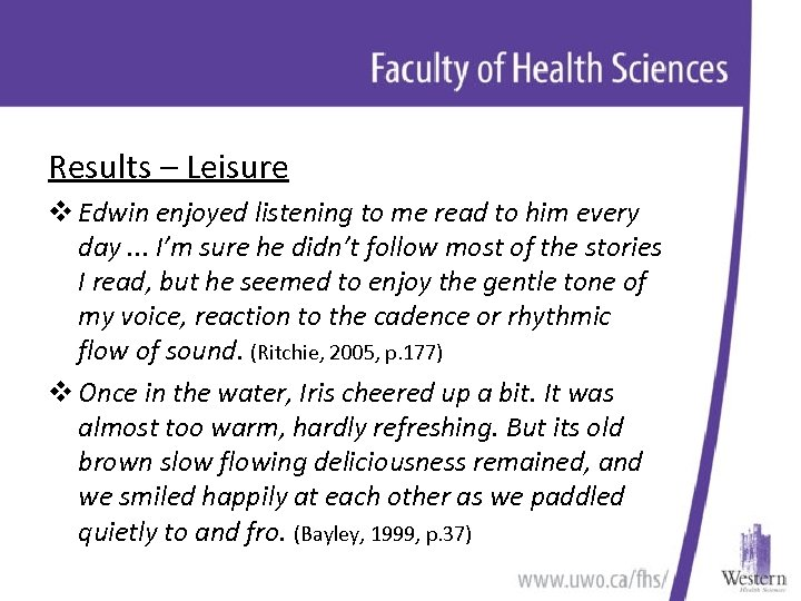 Results – Leisure v Edwin enjoyed listening to me read to him every day.