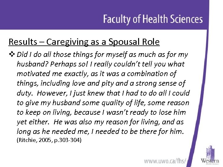 Results – Caregiving as a Spousal Role v Did I do all those things