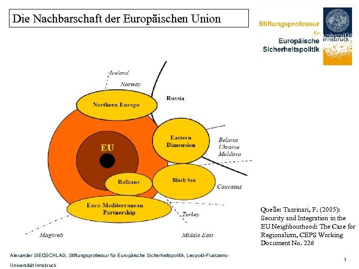 Die Nachbarschaft der Europäischen Union Quelle: Tassinari, F. (2005): Security and Integration in the