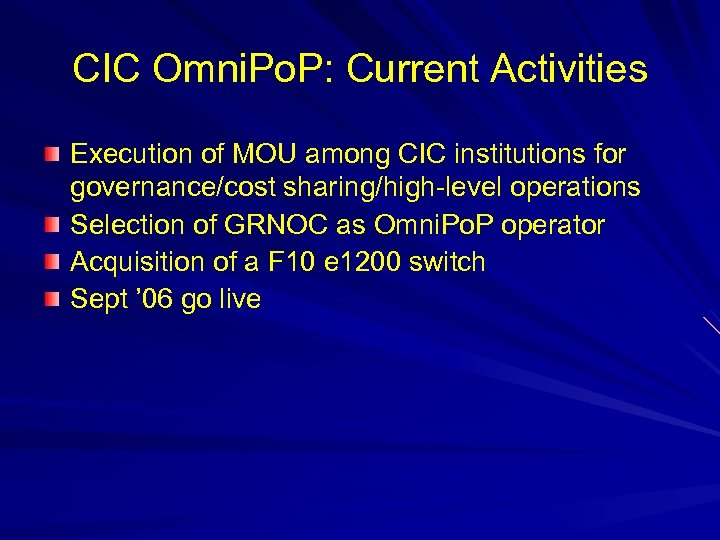 CIC Omni. Po. P: Current Activities Execution of MOU among CIC institutions for governance/cost