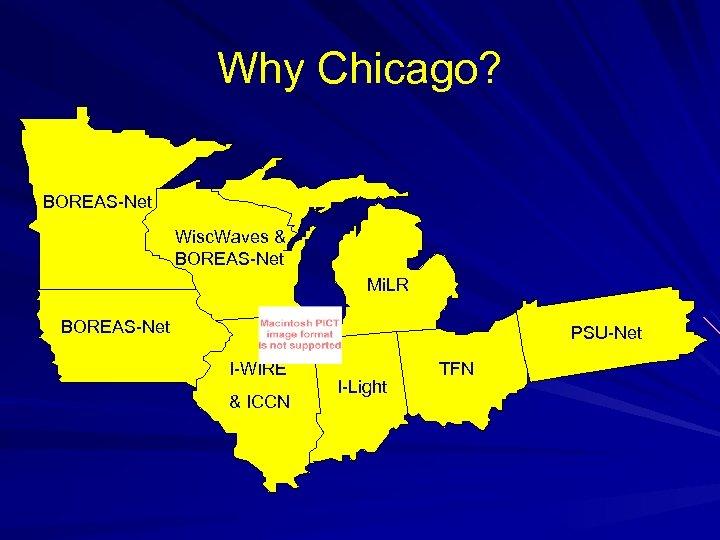 Why Chicago? BOREAS-Net Wisc. Waves & BOREAS-Net Mi. LR BOREAS-Net PSU-Net I-WIRE & ICCN