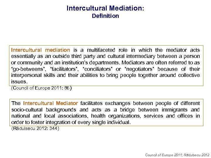 Intercultural Mediation: Definition Intercultural mediation is a multifaceted role in which the mediator acts