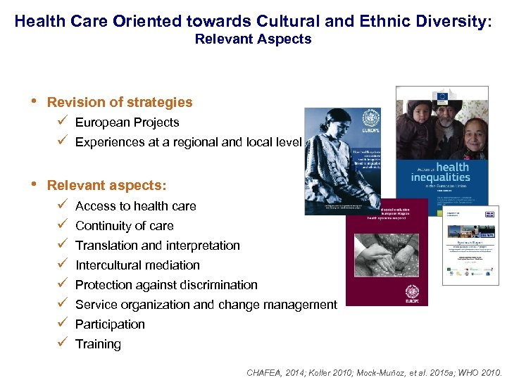 Health Care Oriented towards Cultural and Ethnic Diversity: Relevant Aspects • Revision of strategies