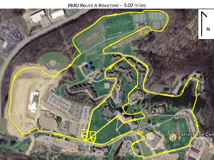 RMU Route A Reversed – 3. 02 miles 2 mi 1 mi RP SP