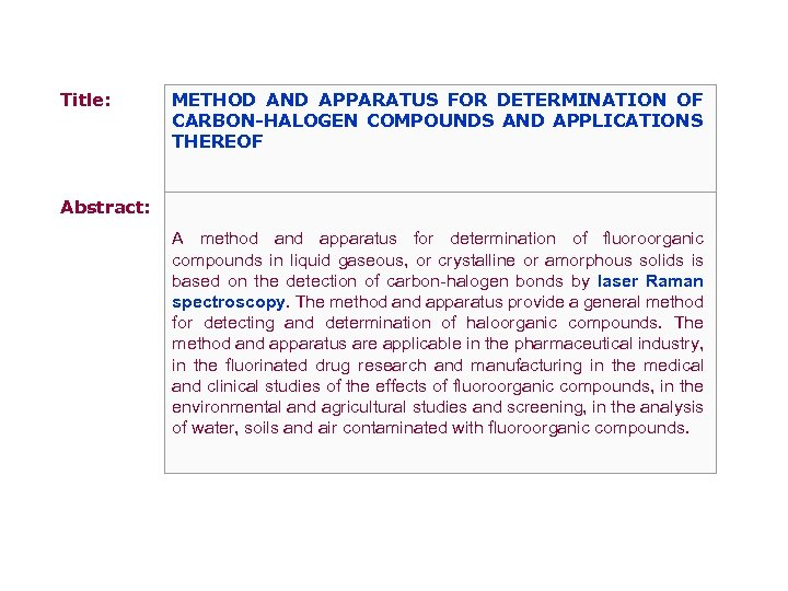 Title: METHOD AND APPARATUS FOR DETERMINATION OF CARBON-HALOGEN COMPOUNDS AND APPLICATIONS THEREOF Abstract: A