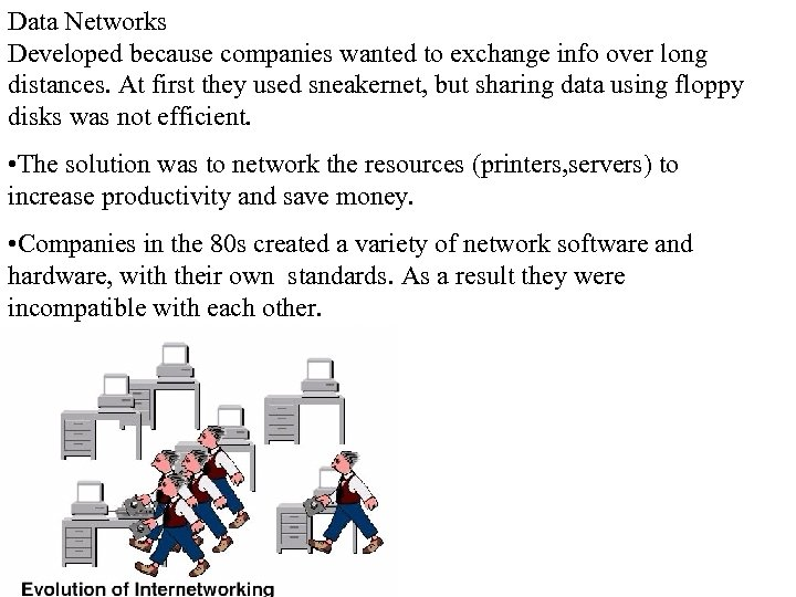 Data Networks Developed because companies wanted to exchange info over long distances. At first