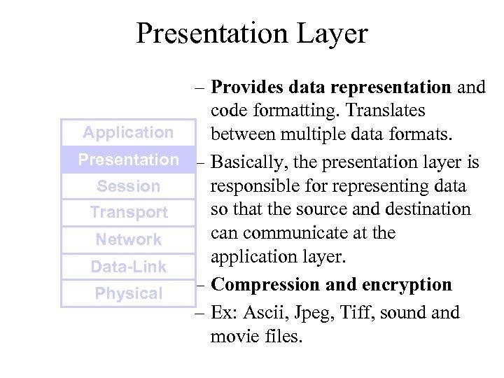 Presentation Layer – Provides data representation and code formatting. Translates Application between multiple data
