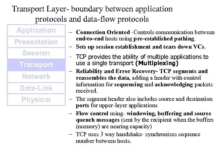 Transport Layer- boundary between application protocols and data-flow protocols Application Presentation Session Transport Network