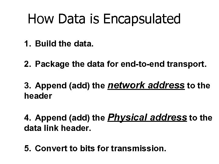 How Data is Encapsulated 1. Build the data. 2. Package the data for end-to-end