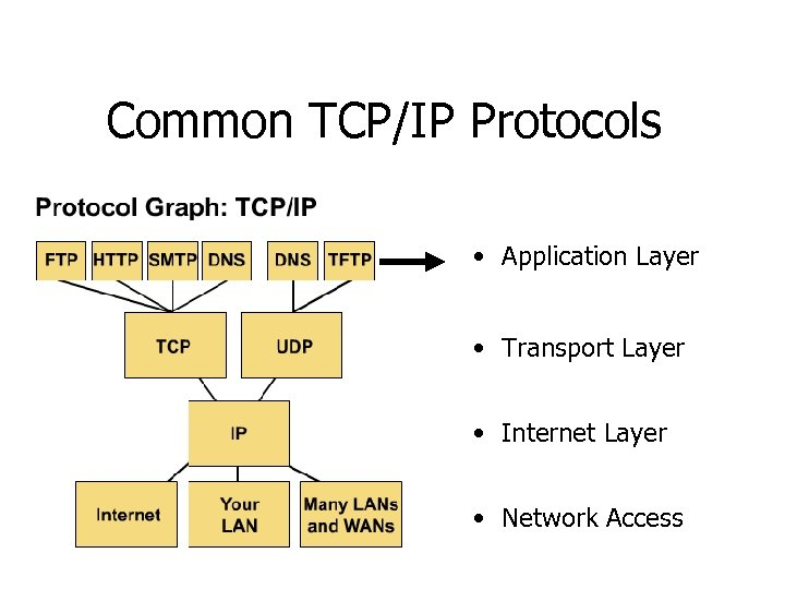 Common TCP/IP Protocols • Application Layer • Transport Layer • Internet Layer • Network