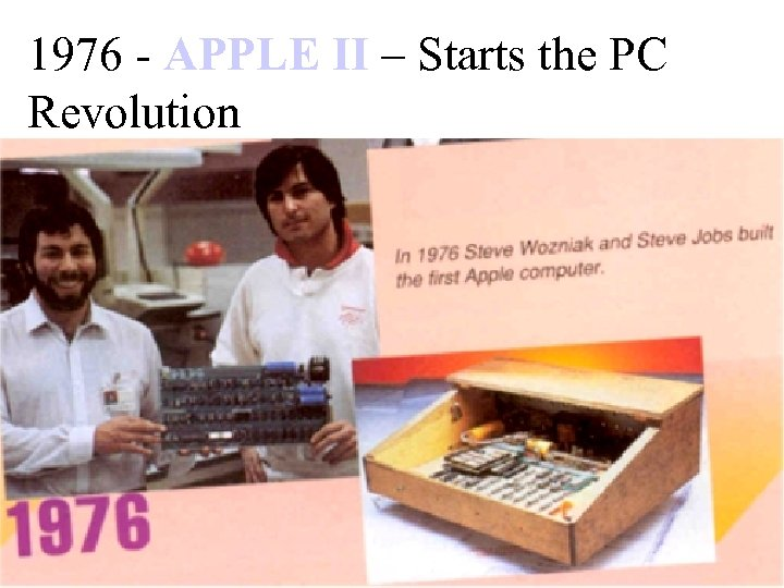 1976 - APPLE II – Starts the PC Revolution