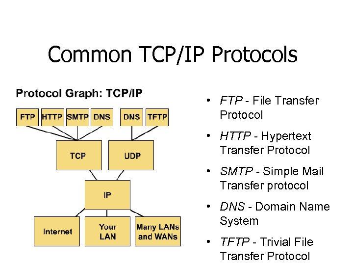 Common TCP/IP Protocols • FTP - File Transfer Protocol • HTTP - Hypertext Transfer