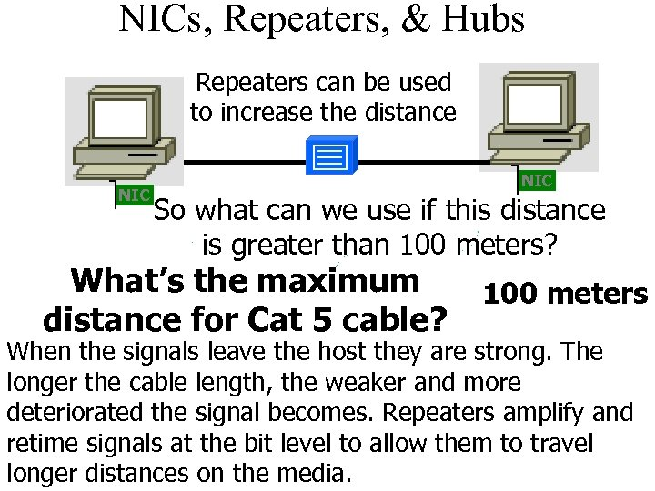 NICs, Repeaters, & Hubs Repeaters can be used to increase the distance NIC So