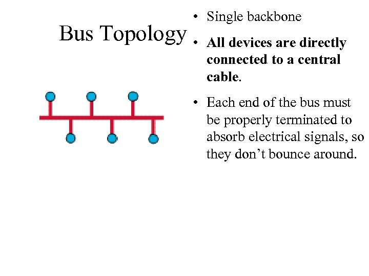 • Single backbone Bus Topology • All devices are directly connected to a