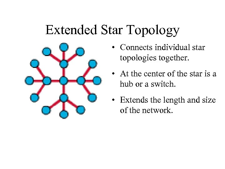 Extended Star Topology • Connects individual star topologies together. • At the center of