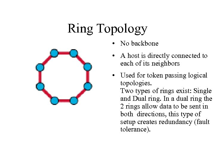 Ring Topology • No backbone • A host is directly connected to each of