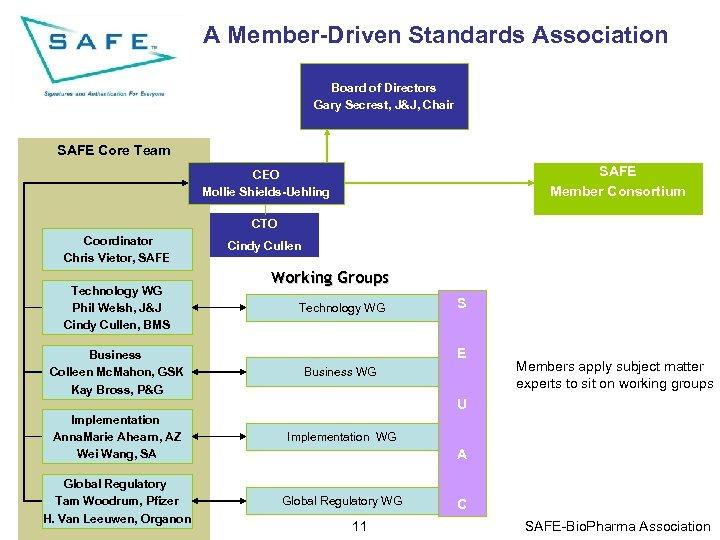 A Member-Driven Standards Association Board of Directors Gary Secrest, J&J, Chair SAFE Core Team
