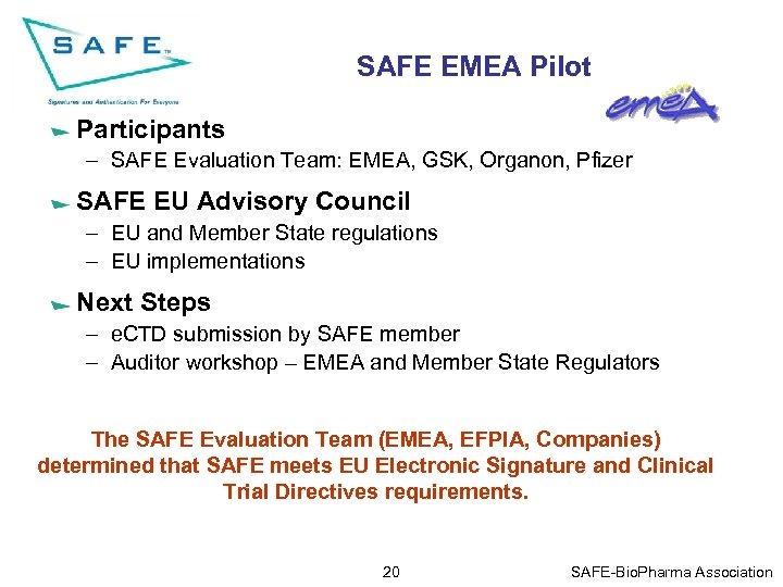 SAFE EMEA Pilot Participants – SAFE Evaluation Team: EMEA, GSK, Organon, Pfizer SAFE EU