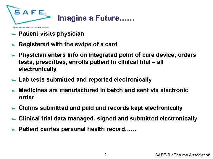 Imagine a Future…… Patient visits physician Registered with the swipe of a card Physician