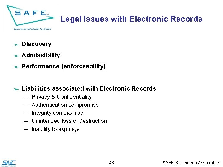 Legal Issues with Electronic Records Discovery Admissibility Performance (enforceability) Liabilities associated with Electronic Records
