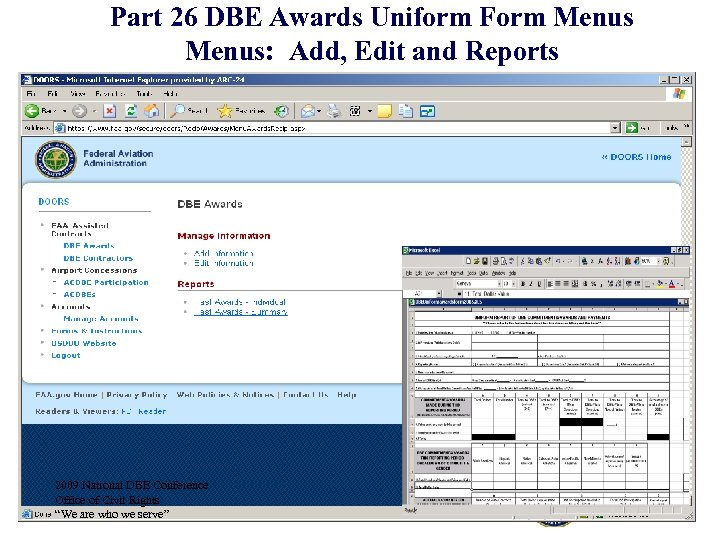 Part 26 DBE Awards Uniform Form Menus: Add, Edit and Reports 2009 National DBE