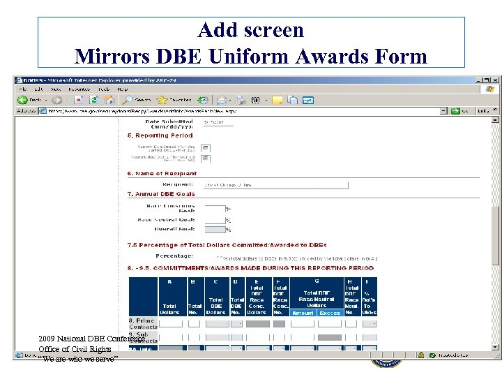 Add screen Mirrors DBE Uniform Awards Form 2009 National DBE Conference Office of Civil