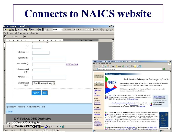 """Connects to NAICS website 2009 National DBE Conference Office of Civil Rights """"We are"""
